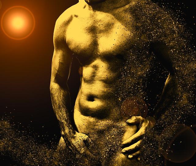 Zlaté nahé telo muža, z ktorého odlietajú kúsky.jpg